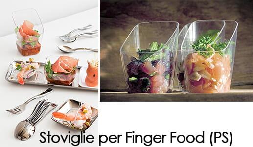 stoviglie finger food in plastica