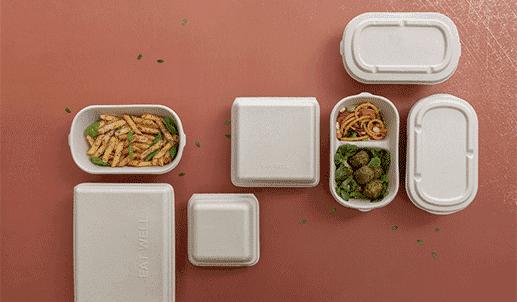 contenitori cibo take-away biodegradabili e compostabili realizzati in polpa.